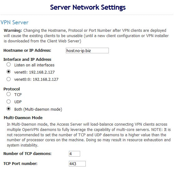 Server Network Settings